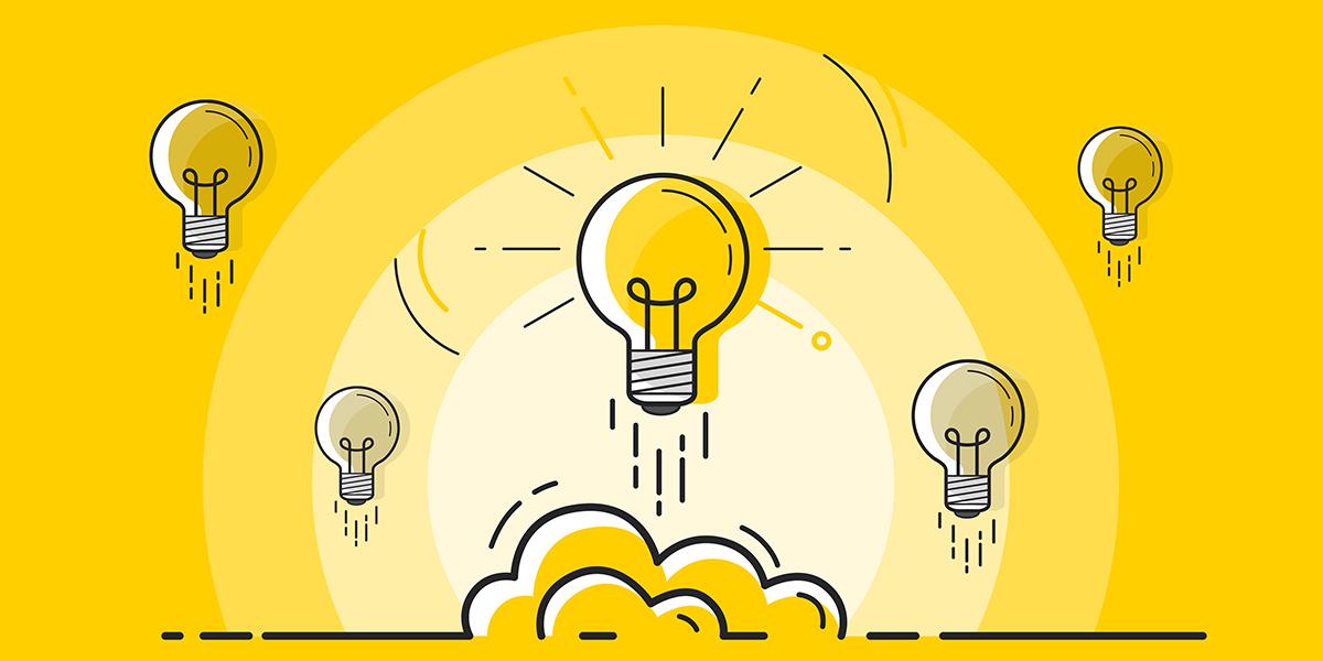 Photo illustration of lightbulbs, representing ideas.