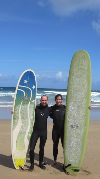 John and Niall surfing in County Mayo - 2009