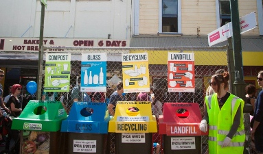 Recycling station at the 2015 Fair.