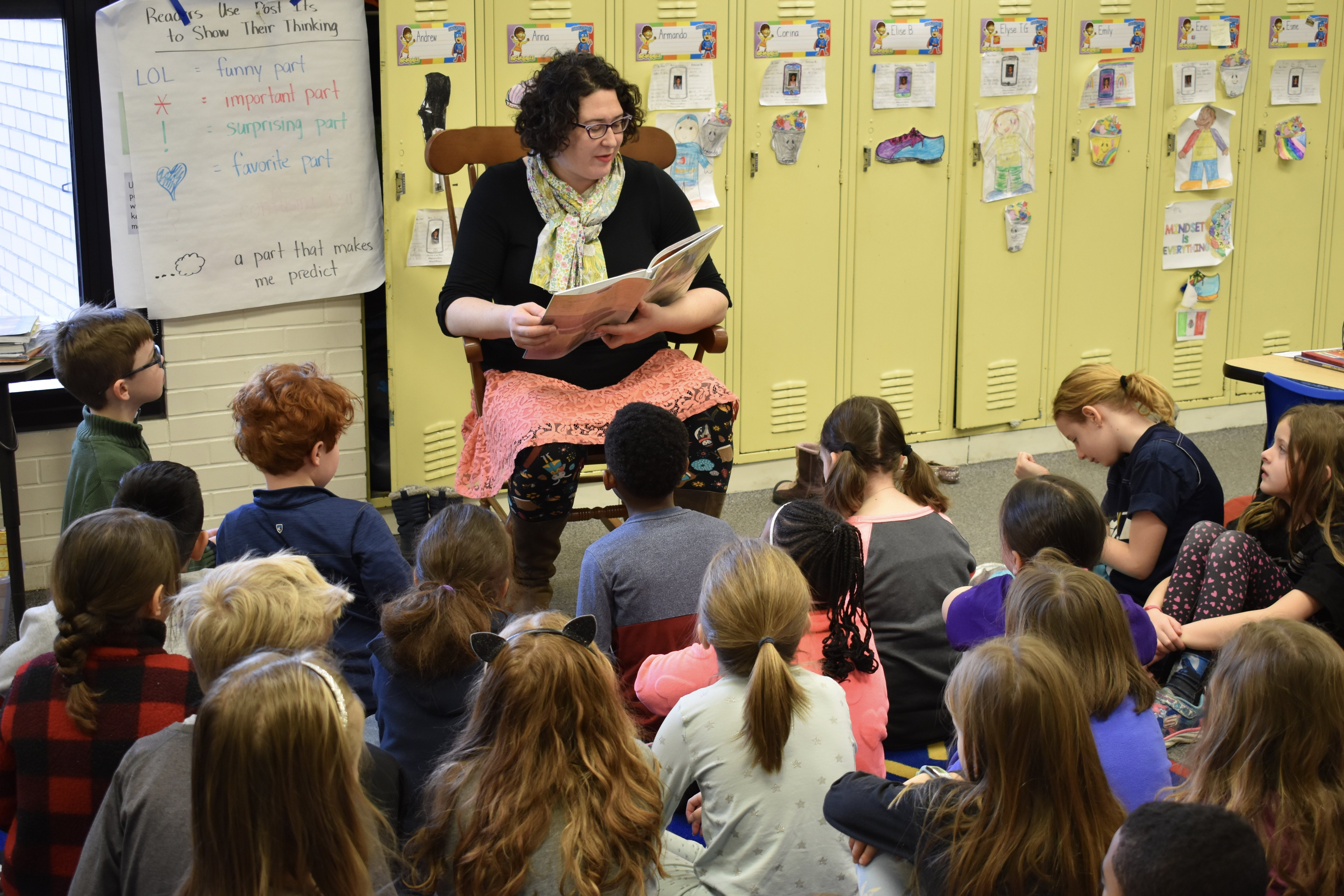 Photograph of Oak Park librarian visiting students at Longfellow Elementary School.