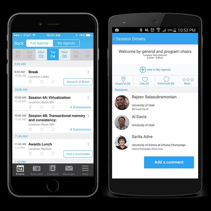 Smartphones with Whova app