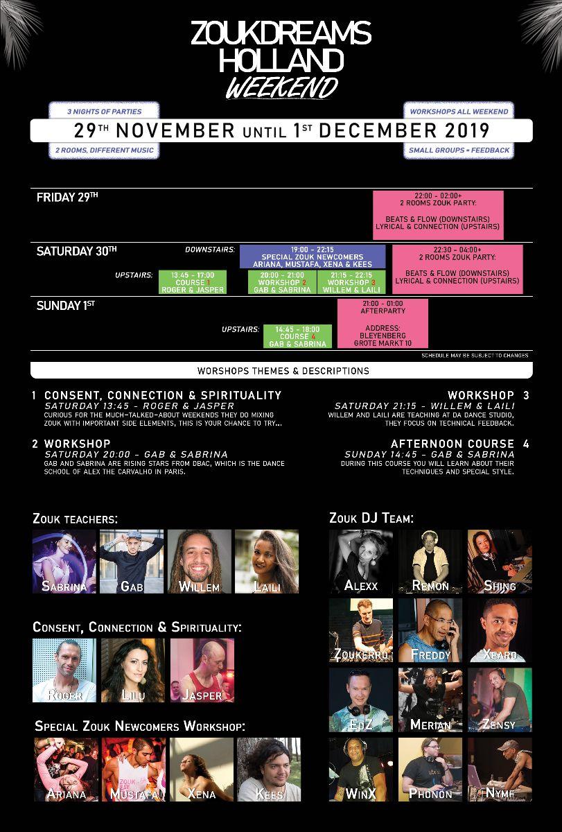 Full program Zoukdreams Holland Weekend