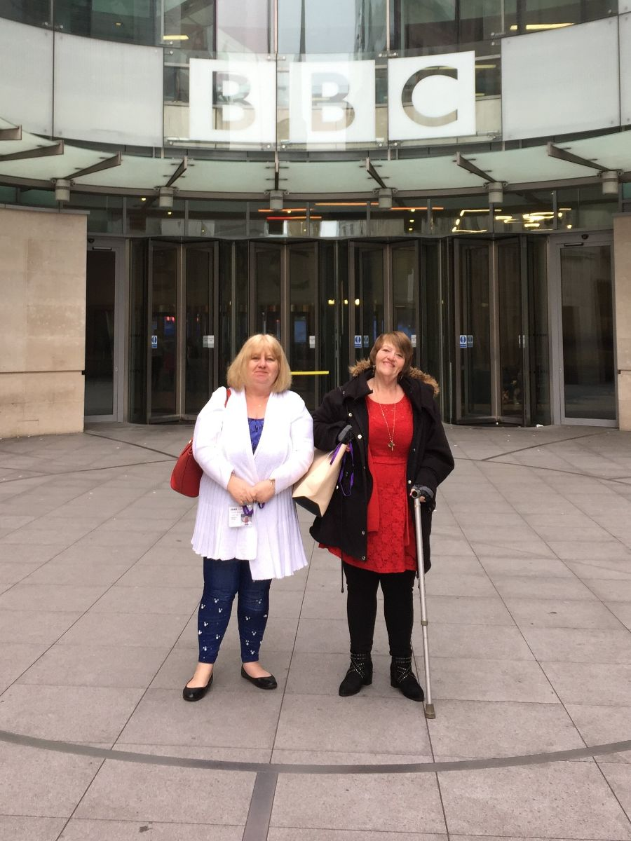 Pictured: Tania El-Keria and sister Debbie at the BBC for interviews following the prosecution.