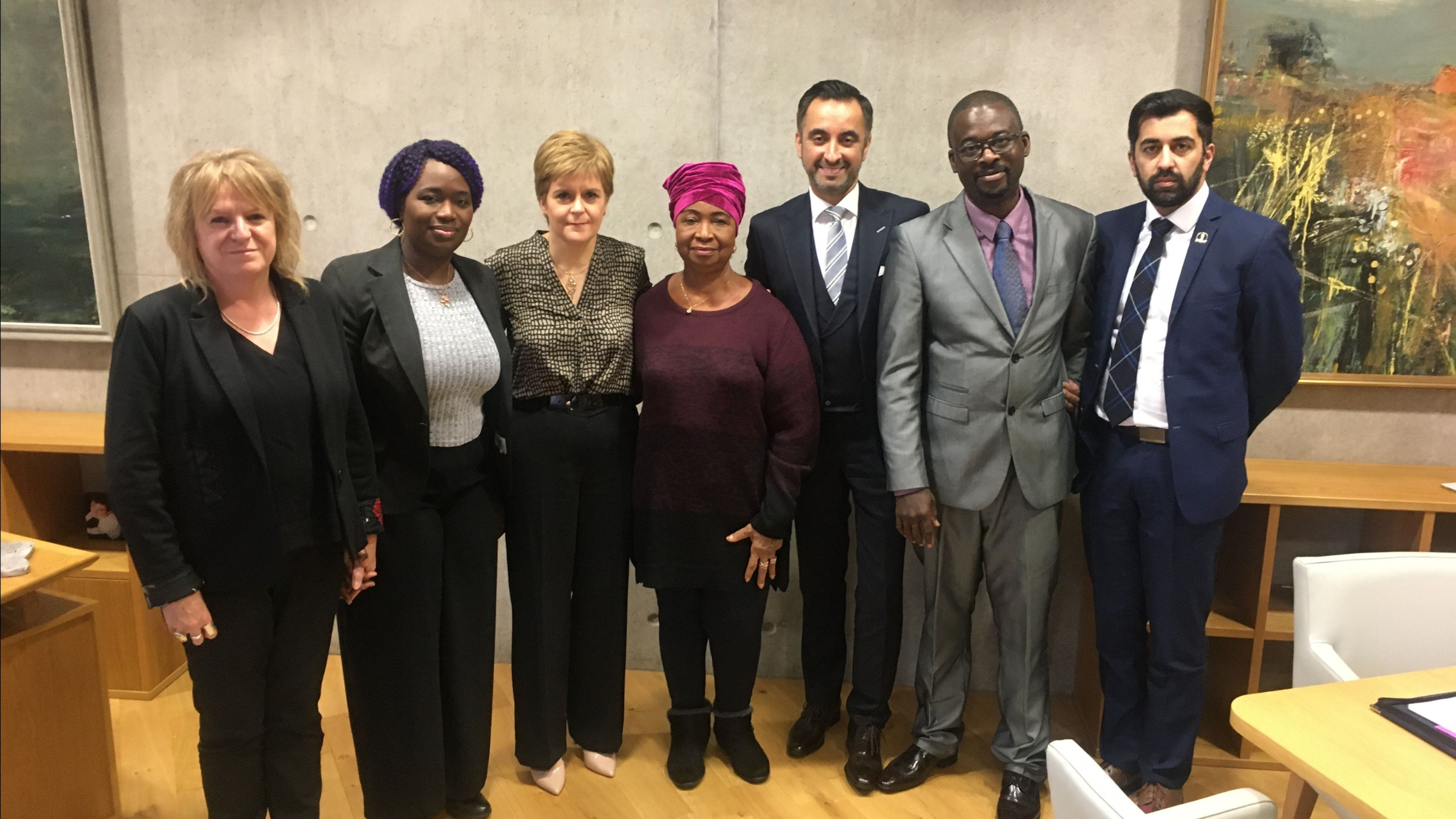 Deborah Coles (INQUEST), Kadi Johnson (sister), Nicola Sturgeon (First Minister), Aminata Bayoh (mother) & Ade Johnson (brother in law), Aamer Anwar (lawyer)
