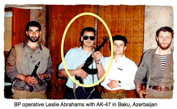 BP Operative Leslie Abrahams with AK-47 in Baku