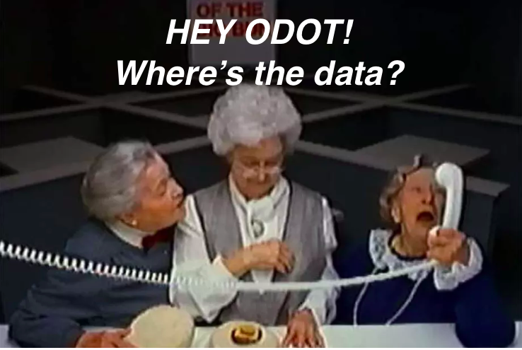 "photo shows image from infamous ""Where's the Beef"" commercial but with ""HEY ODOT WHERES THE DATA"" superimposed over it"