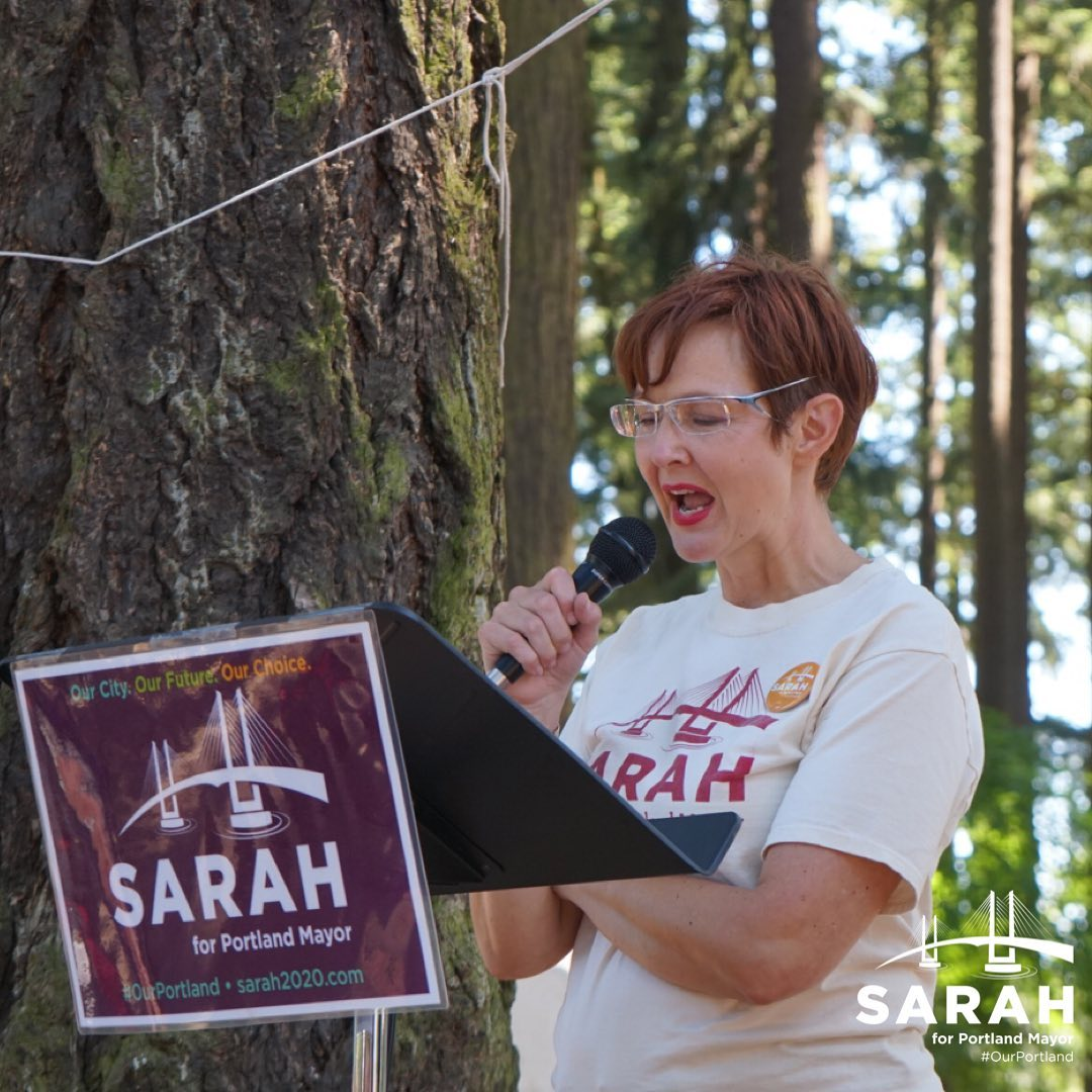 Image shows Sarah Iannarone speaking at her campaign kickoff.