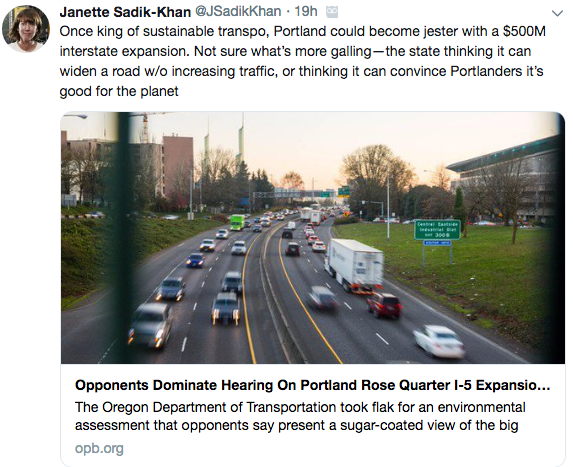 image shows a screenshot of Janette Sadik-Khan calling out Portland for considering a freeway expansion.