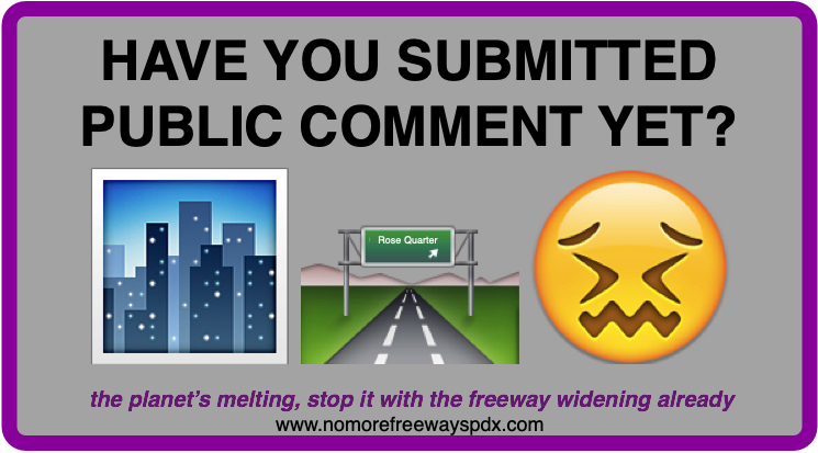 "Image includes a No More Freeways Logo and the text ""Action Alert"" directing readers to submit public comment."