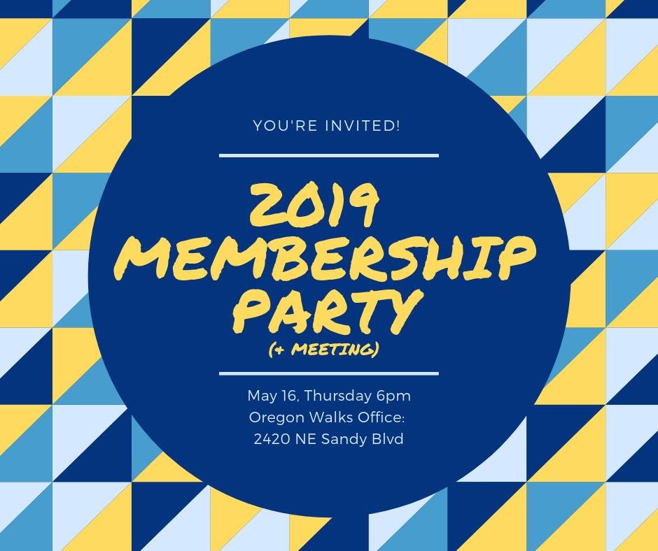 image shows invitation to Oregon Walks Membership Party
