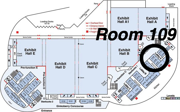 map of the oregon convention center, with Room 109 highlighted.