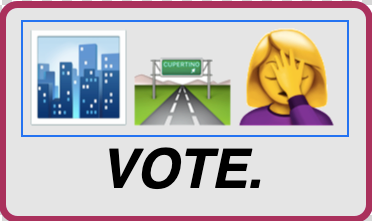 "image caption: no more freeways logo with text ""vote."""