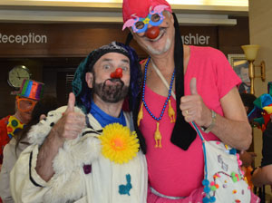 Picture of Dr. Carl Hammerschlag and me as we get ready to clown together at Zataari Refugee camp.