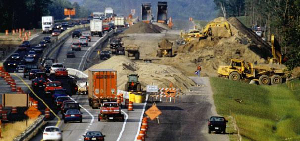 Traffic-clogged roadway