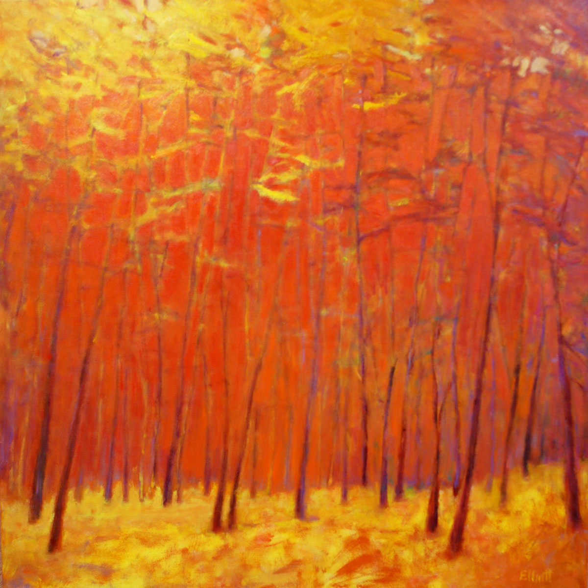 Ken Elliott, Golden Moment Against the Reds, oil on canvas, 48 x 48 inches