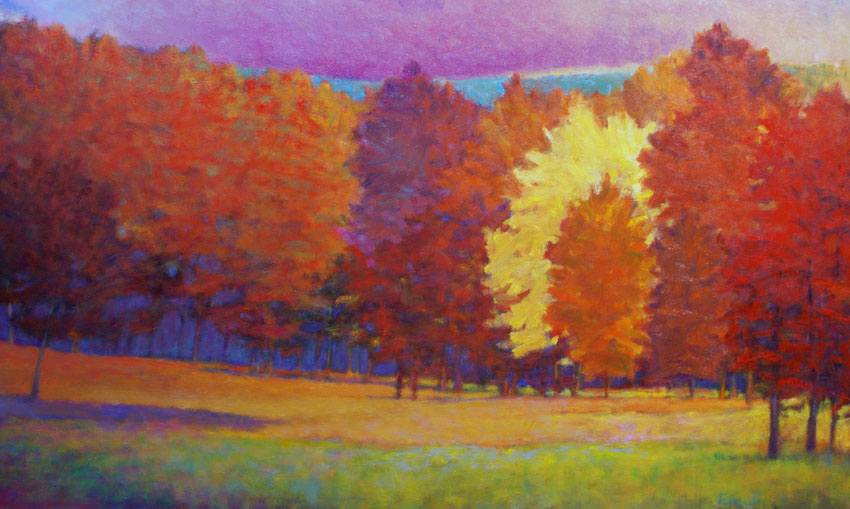 Ken Elliott Tangerine Evening oil on canvas 36 x 60 inches