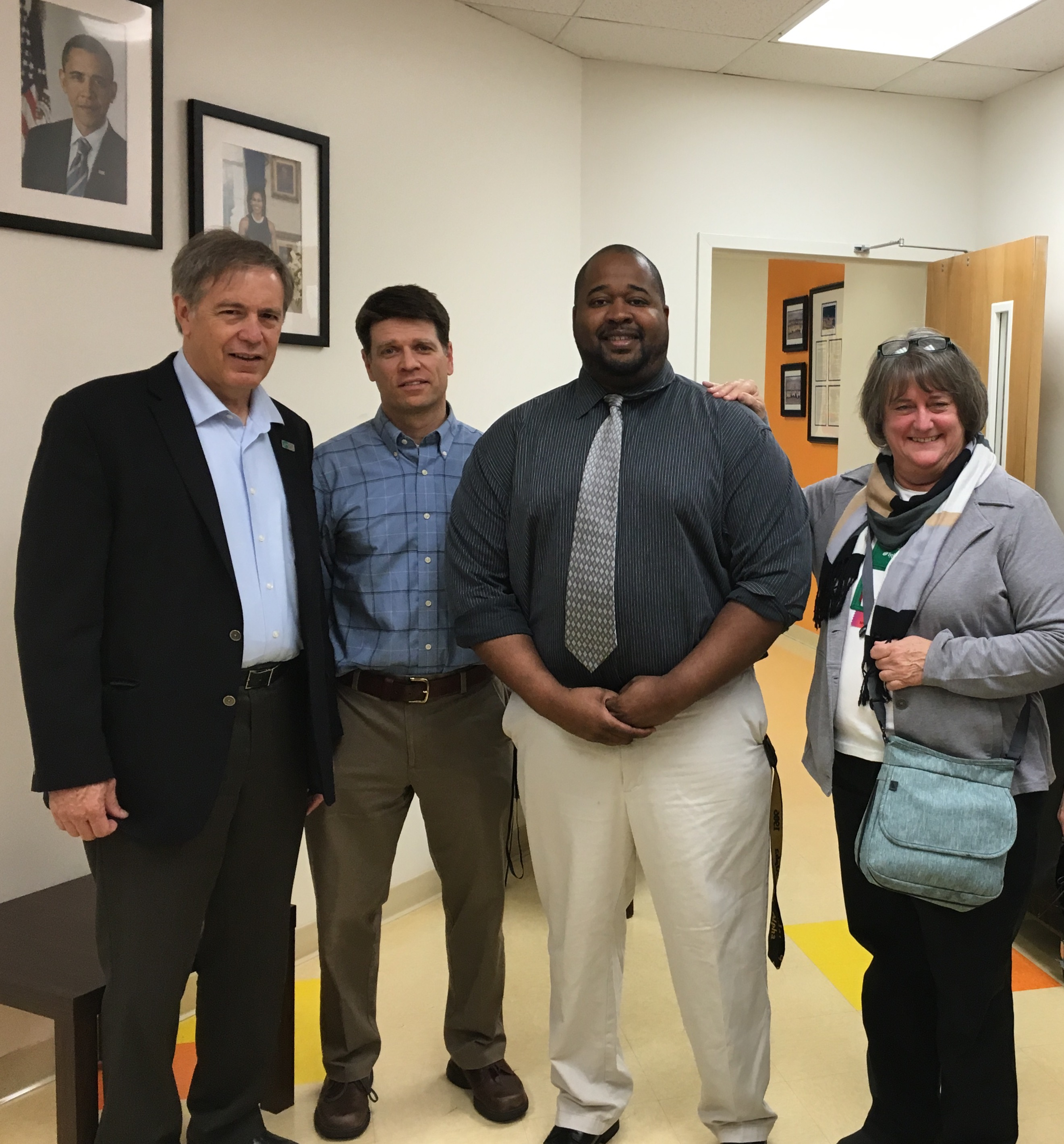 Marv Sparrell, Jared Papa, Denise Bowen, and a counselor from the National Collegiate Preparatory Public Charter School