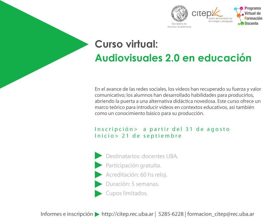 CURSO VIRTUAL:  AUDIOVISUALES 2.0 EN EDUCACIÓN. CITEP