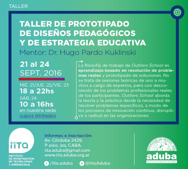 TALLER DE PROTOTIPADO DE DISEÑOS PEDAGÓGICOS Y DE ESTRATEGIA EDUCATIVA