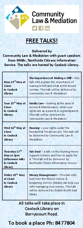 Community Law & Mediation – Free Talks in Coolock Library