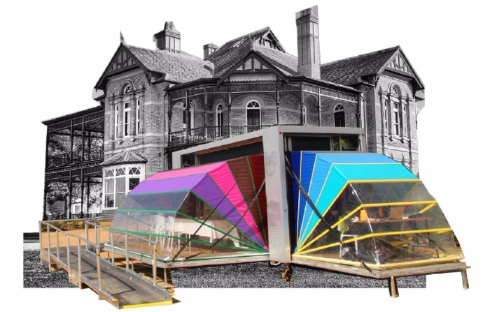 Image: A photograph of the Bundoora Homestead with a photo of the Nebula arts space imposed on top of it