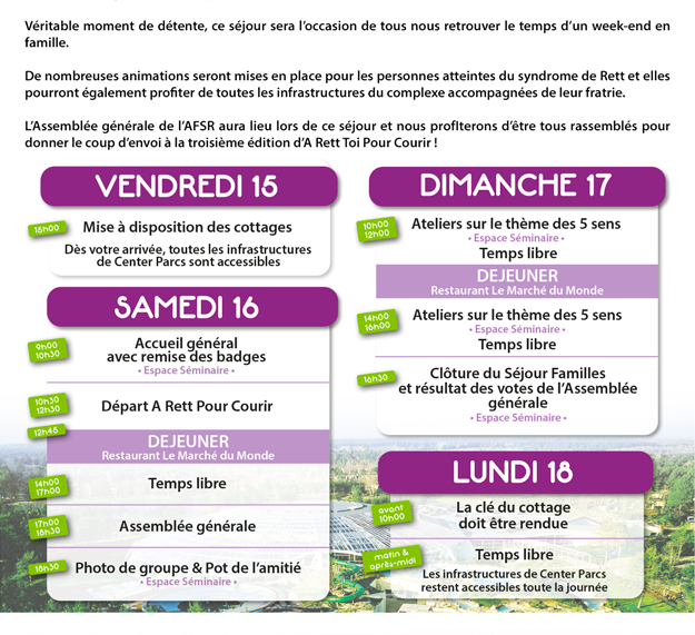 Détails des séjours familles organisés par l'Association Francaise du syndrome de rett