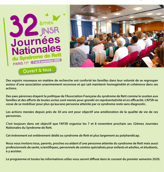 32 eme journées nationales du syndrome de rett évenement organisé par l'Association Francaise du syndrome de rett