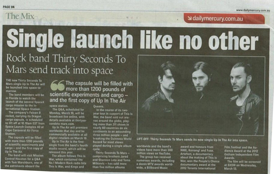 MARS in the Daily Mercury, AUSTRALIA