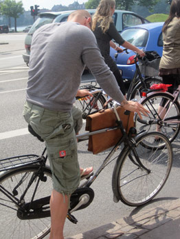 Danish commuter with briefcase