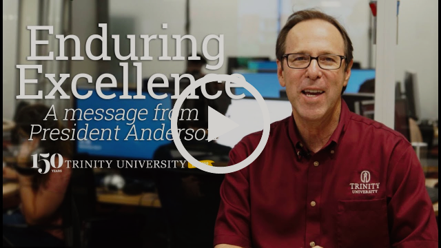 Danny Anderson sitting. Title of the video, Enduring Excellence A message from President Danny Anderson