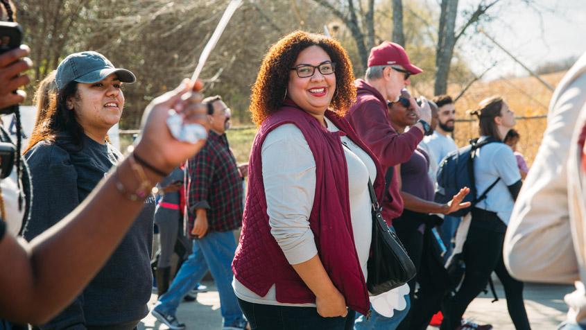 Allison Roman walking in MLK Jr. March