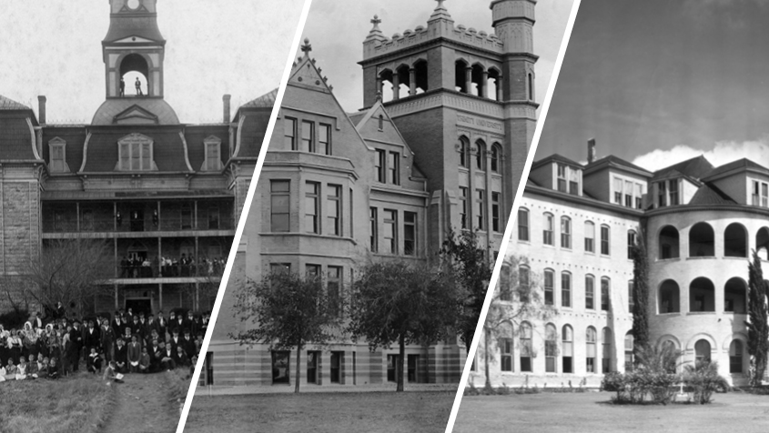 Three of Trinity's early campus, Tehuacana, Waxahachie, and Woodlawn.