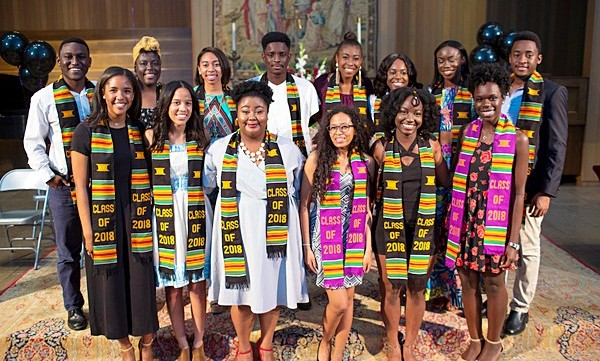 Students participating in Kente ceremony