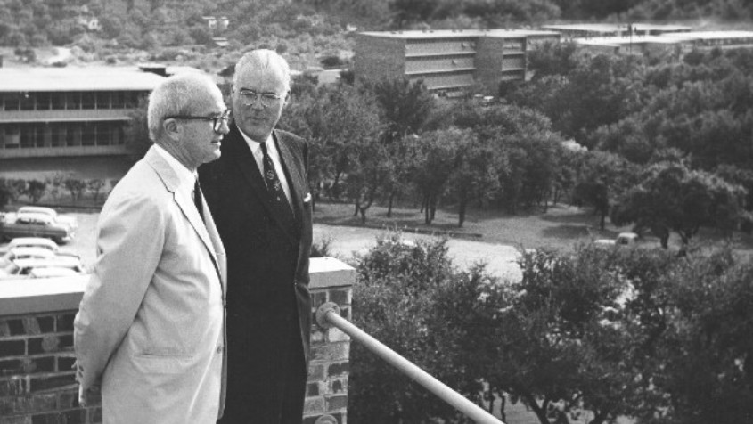 James Laurie and O'Neil Ford looking over campus