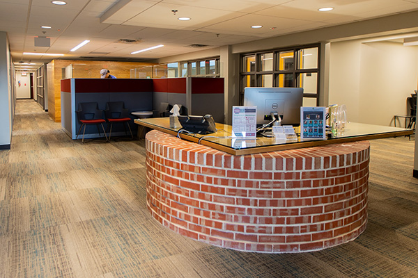Reception desk of Offices of Student Involvement and Diversity and Inclusion
