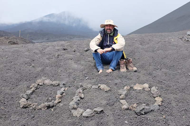 Rosario Esposito sits on the flanks of Etna Volcano