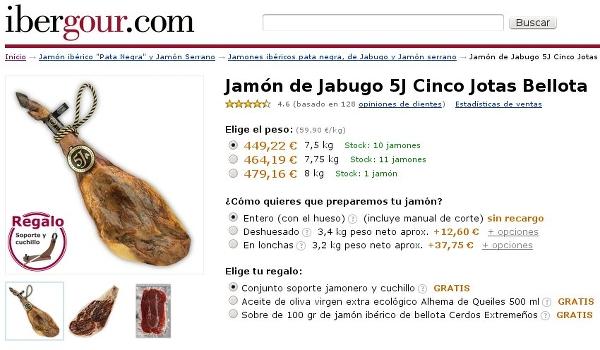 Captura de la nueva ficha de producto en Ibergour.com
