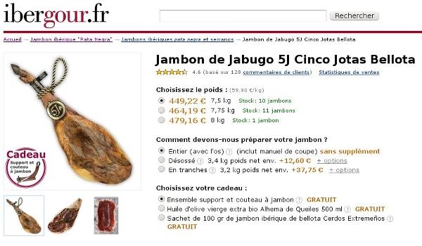 Page du jambon 5 Jotas chez IberGour.it