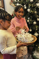Old Salem Holiday Open House moravian stars paper ornaments