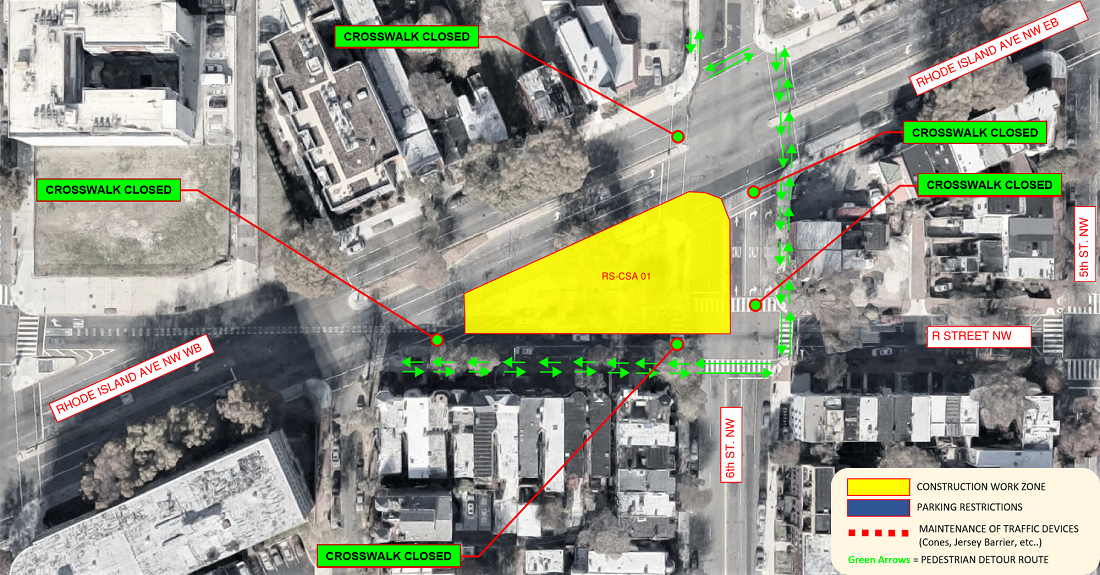 Map of pedestrian detour on 6th and R Streets NW
