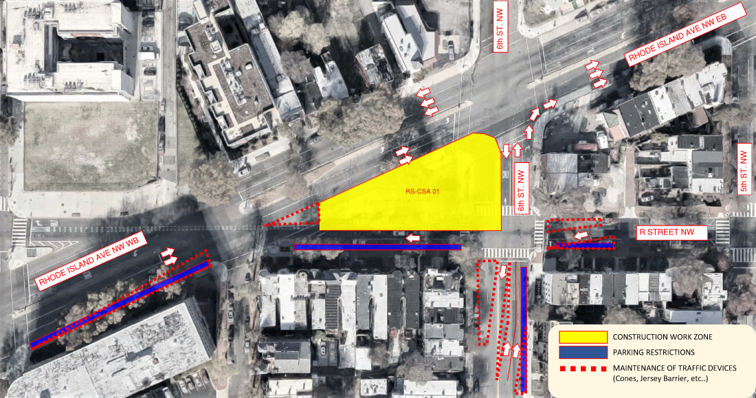 Map of travel and parking restrictions on 6th and R Streets NW
