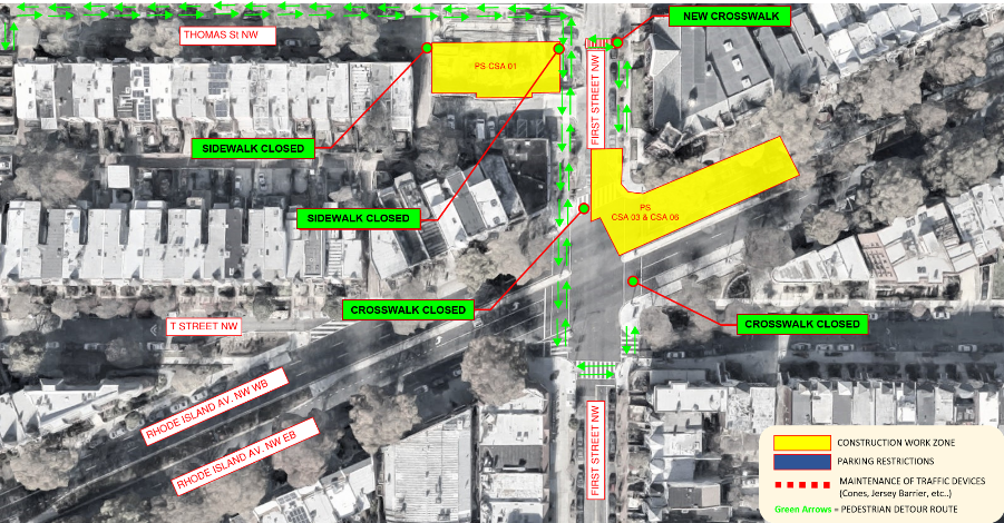 Map of pedestrian detour on Rhode Island Avenue, NW