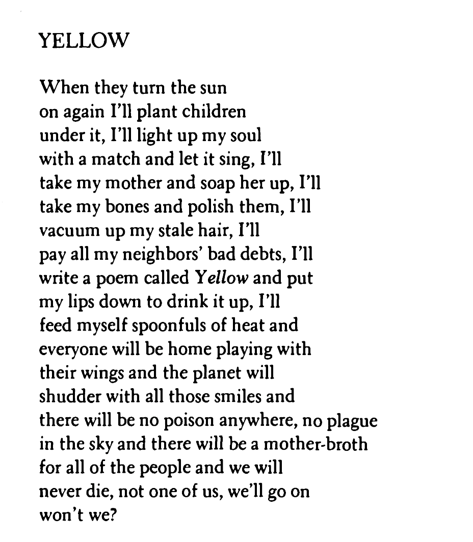 [Yellow by Anne Sexton]