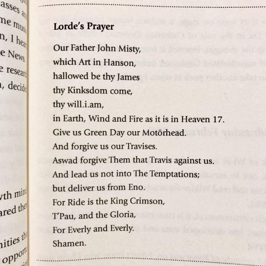 [Lorde's Prayer by Brian Bilston]