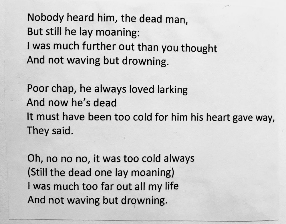 [Not Waving But Drowning by Stevie Smith]