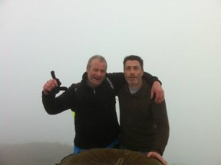 Gary (left) with brother Micky, in training on Mount Snowdon, Wales