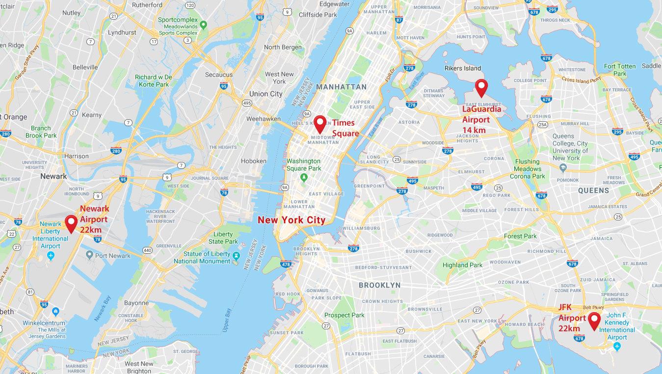 vliegvelden new york kaart