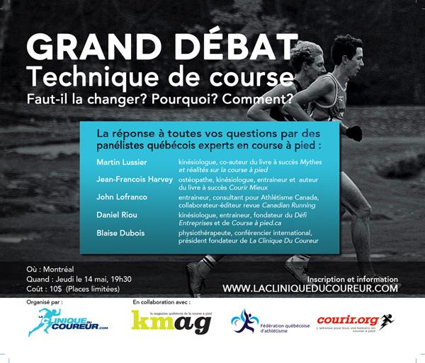 Affiche invitation au Grand débat sur la technique de course à pied