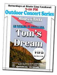 Music on the Rocks with Tom's Dream flyer