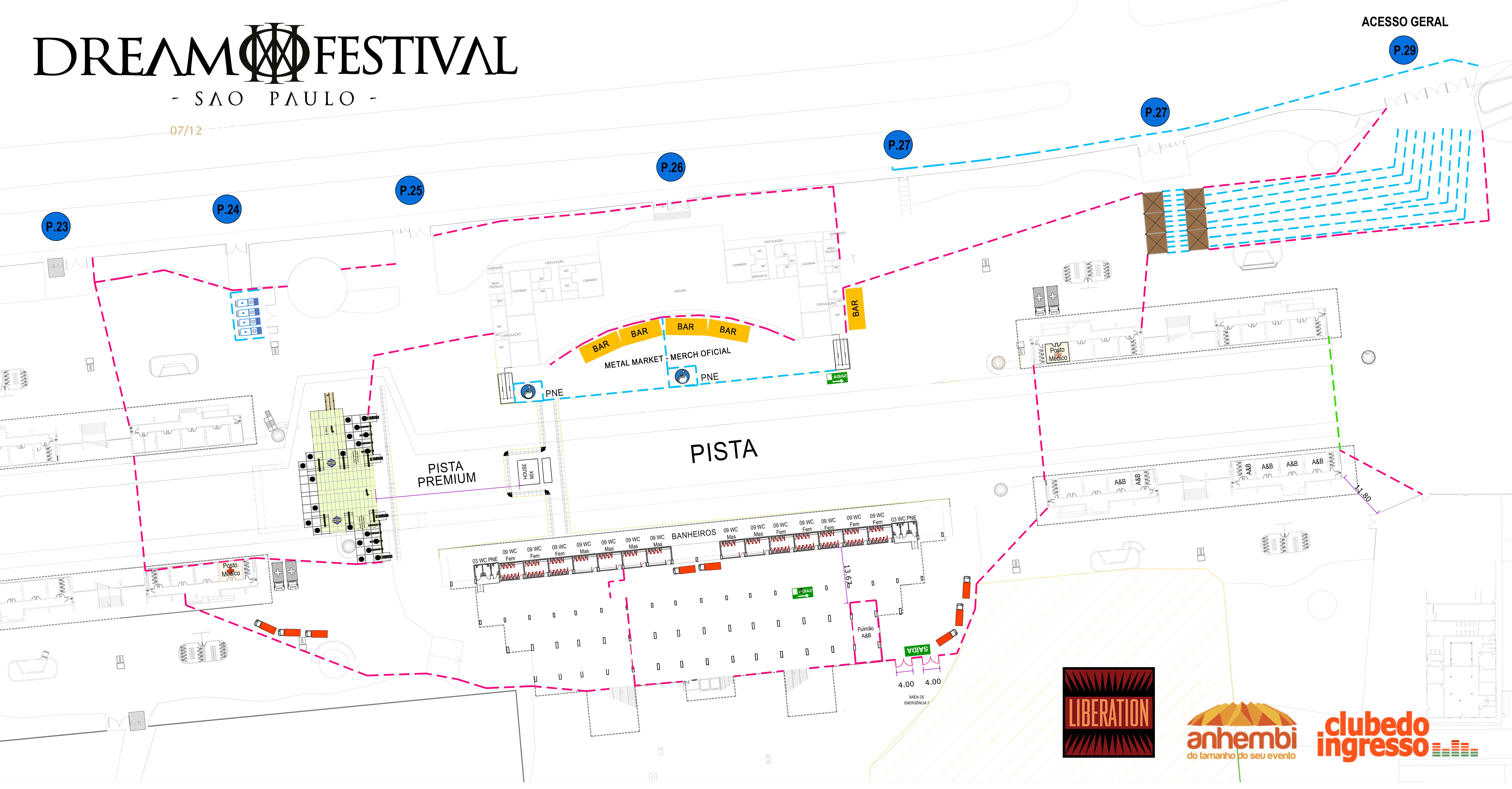 Mapa e setores Dream Festival São Paulo 2019